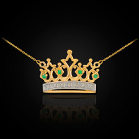 14K Gold Royal Crown Necklace with Emeralds & Diamonds