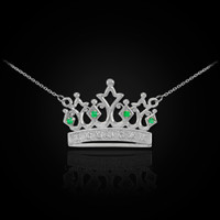 14K White Gold Royal Crown Necklace with Emeralds & Diamonds
