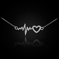 14K White Gold Heartbeat Pulse & Heart Necklace