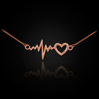 Rose Gold Heartbeat Pulse & Heart Necklace