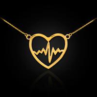 14k Gold Open Heart Beat Pulse Necklace