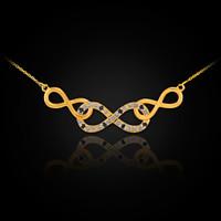 Gold Triple Infinity Diamond Necklace with Black Diamonds