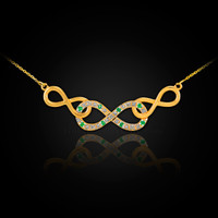 14k Gold Triple Infinity Diamond Necklace with Emerald