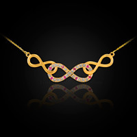 Gold Triple Infinity Diamond Necklace with Ruby