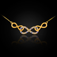 Gold Triple Infinity Diamond Necklace with Blue Sapphire