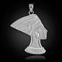 White Gold Egyptian Queen Nefertiti Pendant