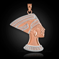 Two-Tone Rose Gold Egyptian Queen Nefertiti Pendant