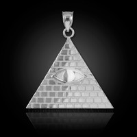 White Gold Illuminati Pyramid Pendant