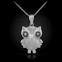 White Gold Owl Charm Pendant Necklace with Diamonds