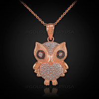 Rose Gold Owl Charm Pendant Necklace with Diamonds