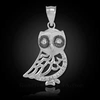 White Gold Bohemian Owl Diamond Charm Pendant