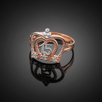 Two-Tone Rose Gold Quinceanera Crown CZ Ring