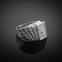 White Gold Royal Flush Poker Nugget Ring