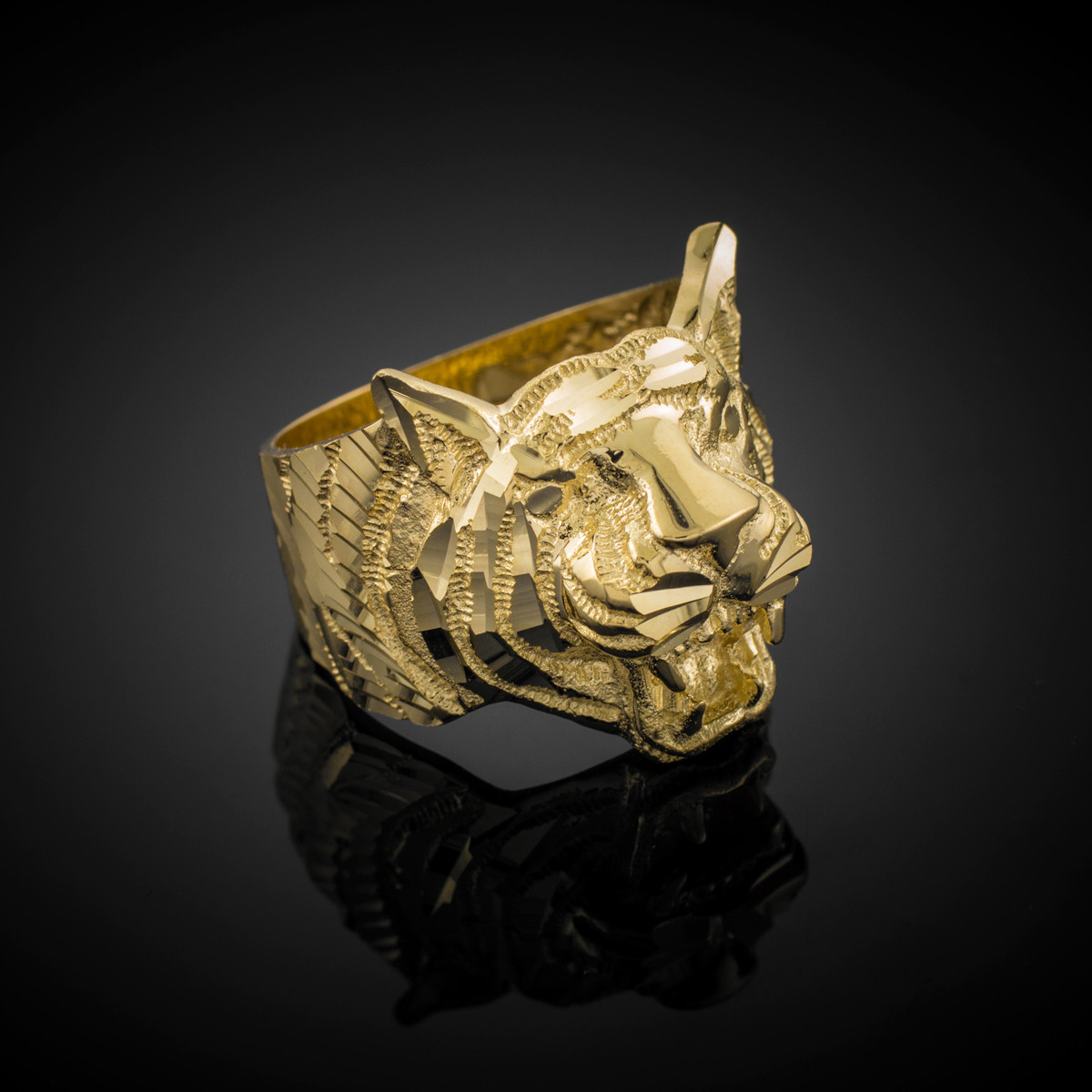 gold cut tiger ring