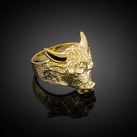 Large Gold Bull Taurus Ring