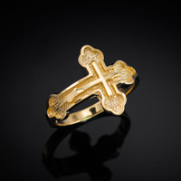 Gold Russian Orthodox Cross Ring