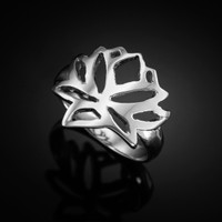 White Gold Lotus Ring