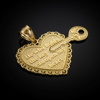 "Gold ""Key of my Heart"" Detachable Pendant"