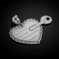 "White Gold ""Key of my Heart"" Detachable Pendant"