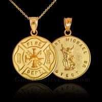 Saint michael gold pendant necklace gold firefighter badge reversible st michael pendant necklace aloadofball Gallery
