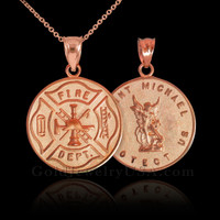 Rose Gold Firefighter Badge Reversible St. Michael Pendant Necklace