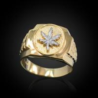 Mens Gold Marijuana Leaf Cannabis Ring