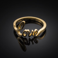 "Solid Gold ""Love"" Script Ring"