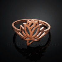 Dainty Rose Gold Lotus Ring