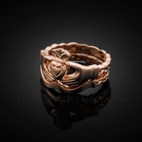 2pc Rose Gold Claddagh Engagement Ring with Trinity Band