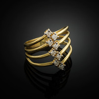 Gold Four-Band CZ Ring