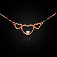 14K Rose Gold Triple Heart Necklace with CZ