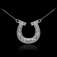 14k White Gold Diamond Horseshoe Necklace