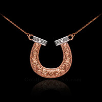 14k Two-Tone Rose Gold Diamond Horseshoe Necklace