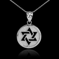 White Gold Cut-Out Star of David Pendant Necklace