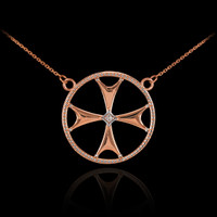 14k Rose Gold Diamond Maltese Cross Necklace