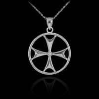 White Gold Diamond Maltese Cross Pendant Necklace