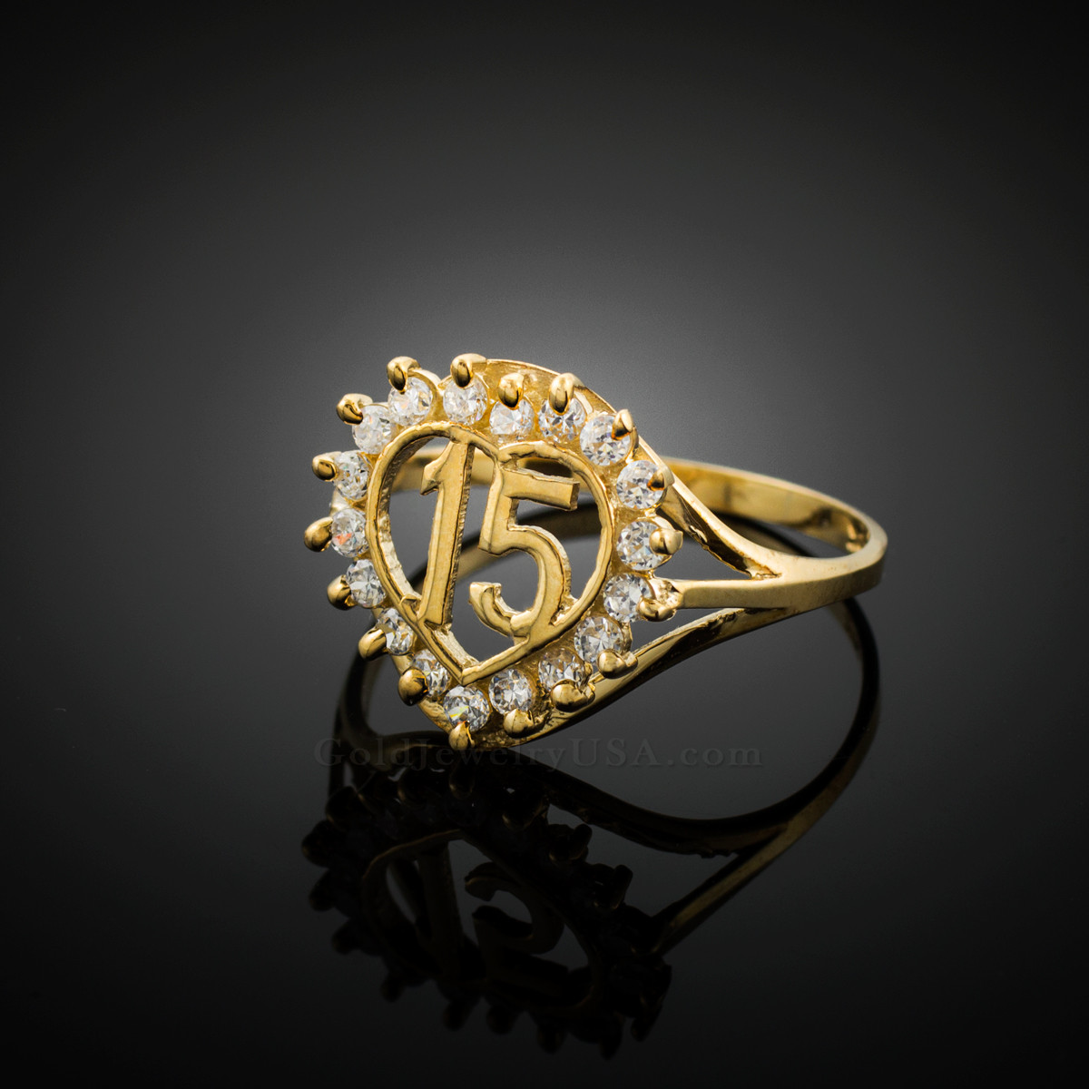 gold quinceanera 15 anos cz ring ebay