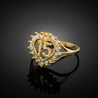 Yellow Gold Quinceanera 15 Anos CZ Ring