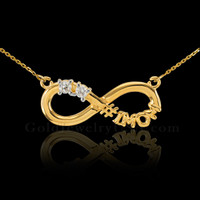 14K Gold Infinity #1MOM Necklace with Dual CZ Birthstones