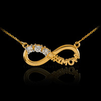 14K Gold Infinity #1MOM Necklace with Triple CZ Birthstones