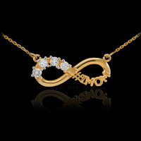14K Gold Infinity #1MOM Necklace with Four CZ Birthstones