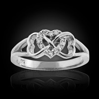 White gold infinity heart diamond ring