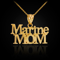 Gold Marine Mom Pendant Necklace