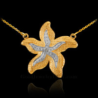 14k Two-Tone Gold Diamond Starfish Necklace