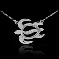 14k White Gold Sideways Diamond Hawaiian Honu Turtle Necklace
