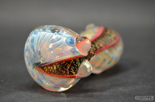 Highly Possible Pink Fumed Hand Pipe with Dichro flame