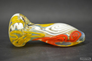 Highly Possible Red White and Yellow Curly Q Hand Pipe  -everypipe.com