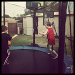 Basketball on the trampoline!? #fun #premiertrampolines