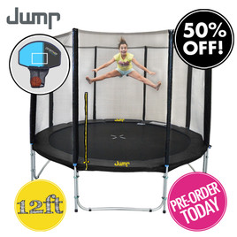 12ft Spring Jump Trampoline with Net and Basketball Hoop