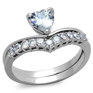 1.07 Ct Heart Shape Zirconia Stainless Steel Wedding Ring Set Women's Size 5-10